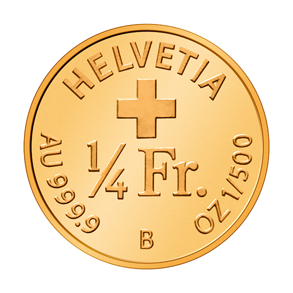 Zadní strana nejmenší zlaté mince světa Zdroj: https://www.swissmint.ch/e/aktuell/medien/index.php